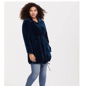 NWT Torrid Blue Velvet Anorak Jacket In Size 10